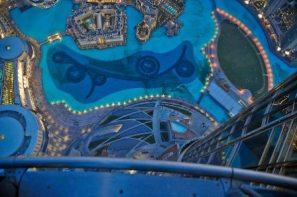 Dubai Burj Khalifa fountain view from the top