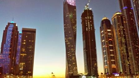 Dubai marina lights at sundown