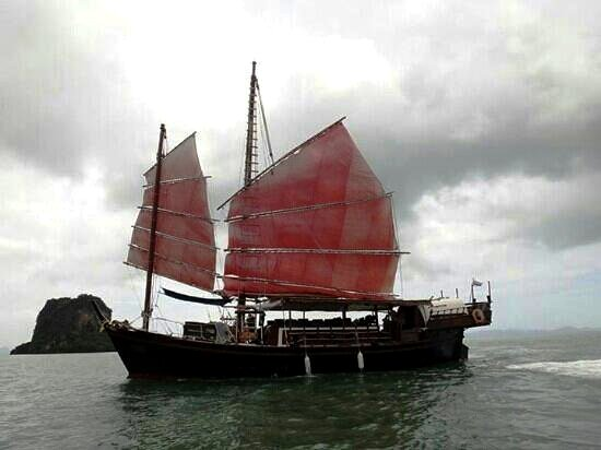 Thailand Phang Na Bay sailing by junk boat