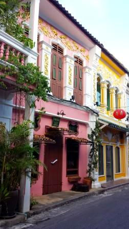 Phuket town's old city part with colourful authentic buildings all around