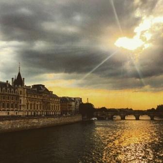 Paris bridges at sundown