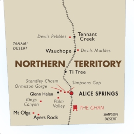 Map of outback central Australia