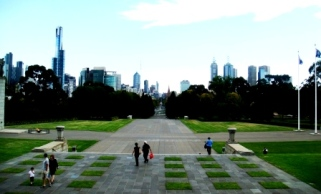 Melbourne city view from memorial