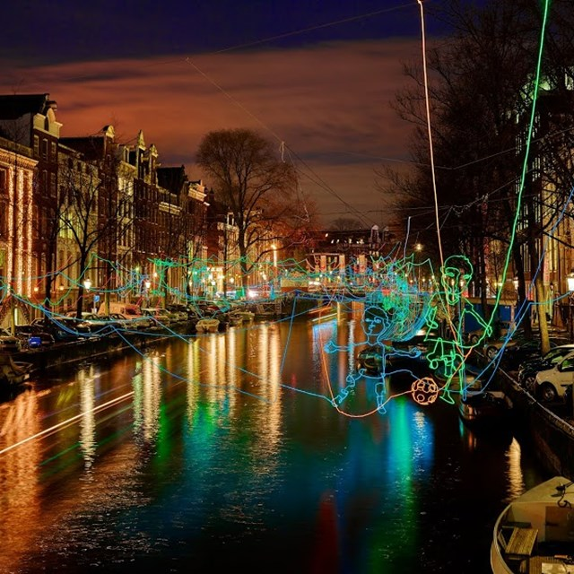 Amsterdam light festival paths crossing