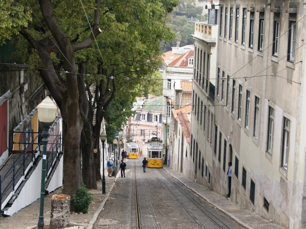 Taking the tram down the steep streets of Lisbon
