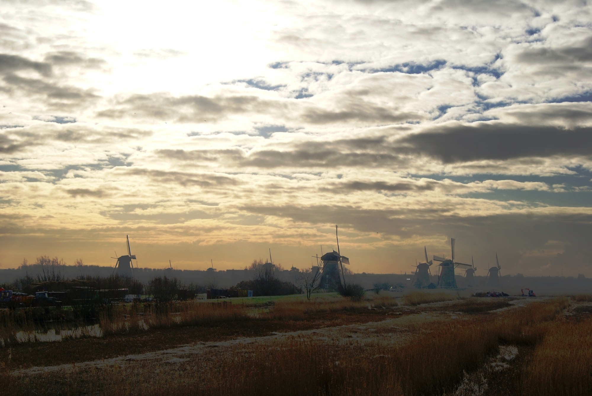The mills of Kinderdijk in early morning