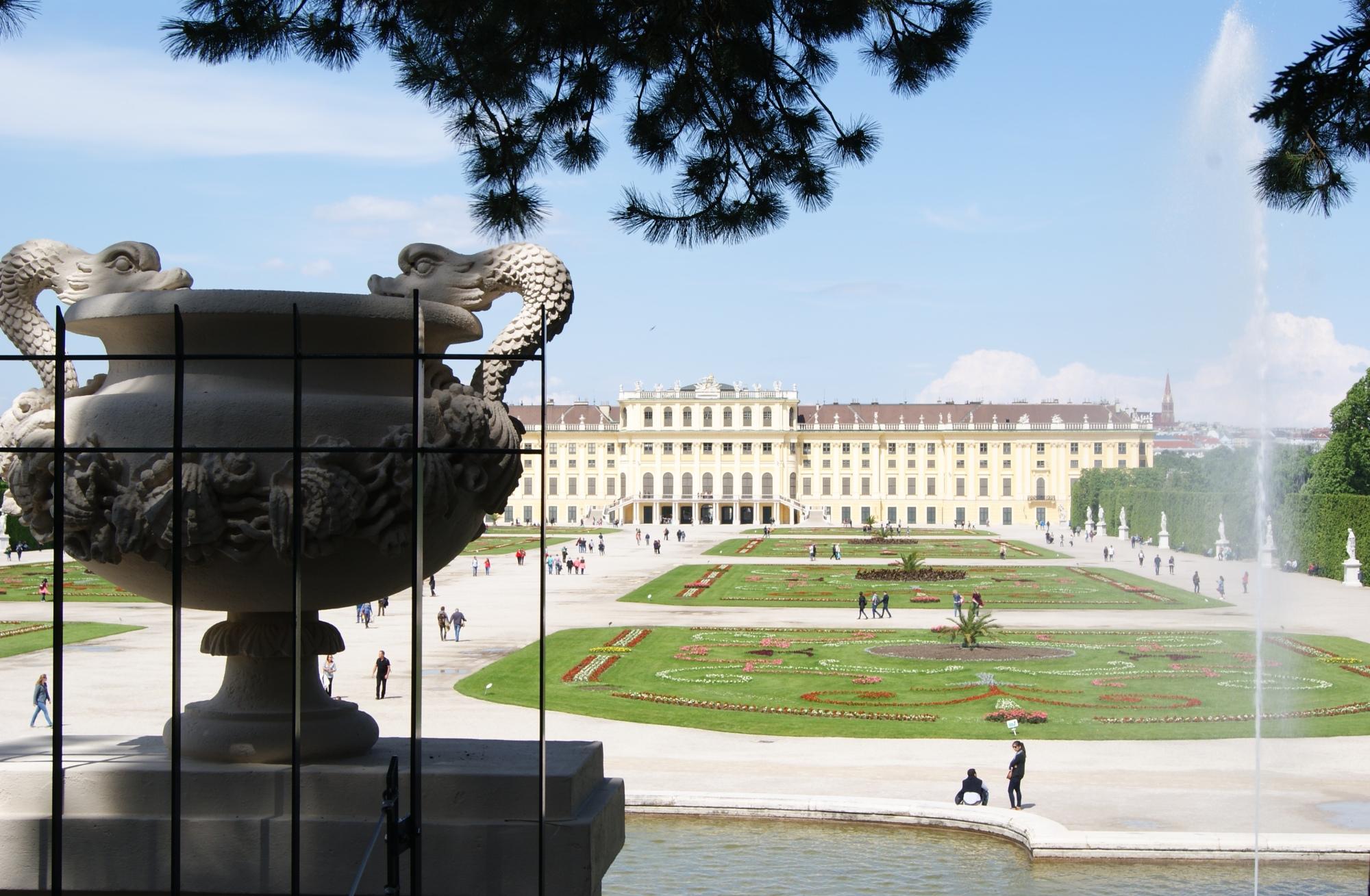Schloss Schonbrunn Vienna gardens backside