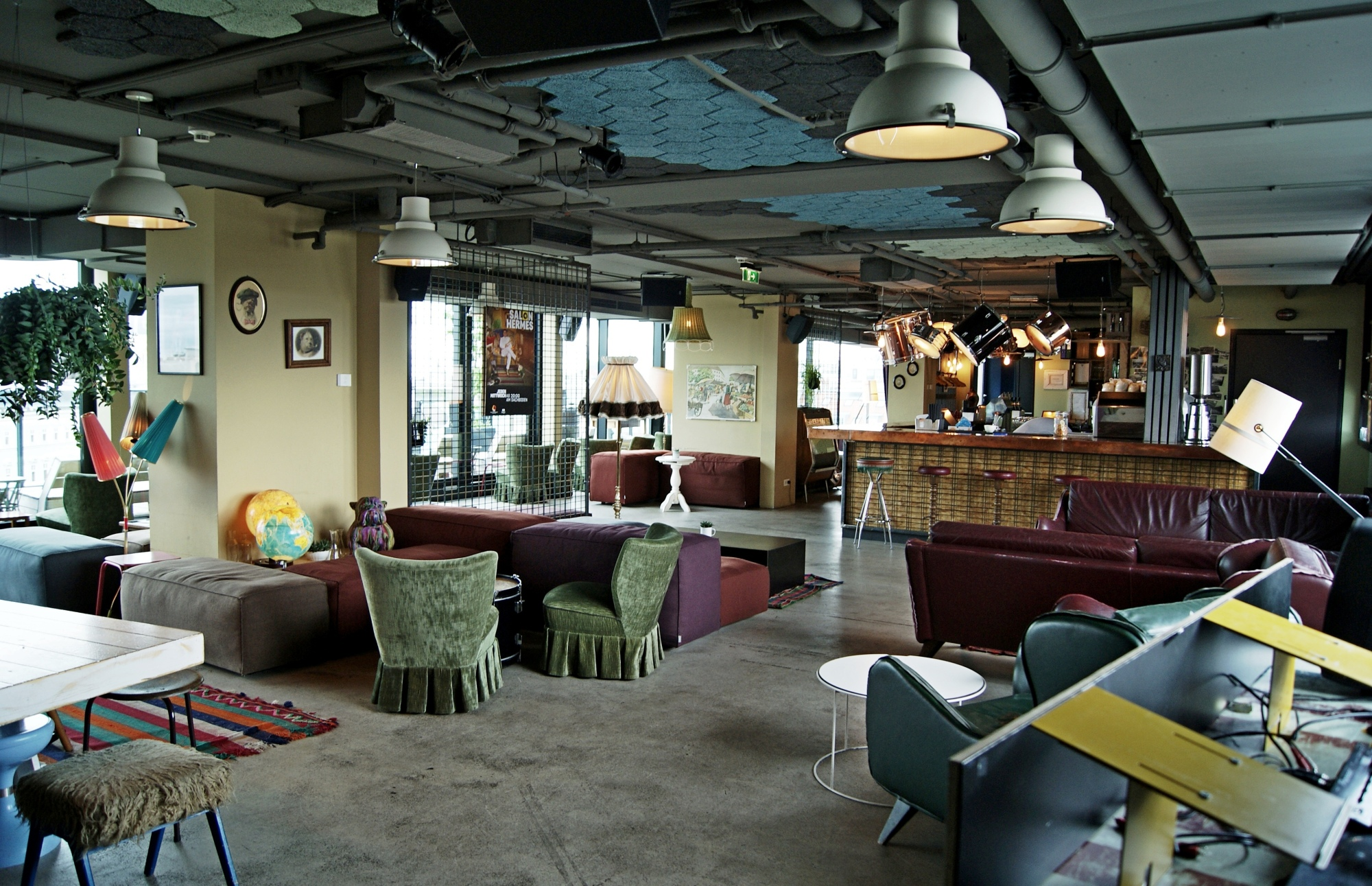 25hours Hotel rooftop bar interior