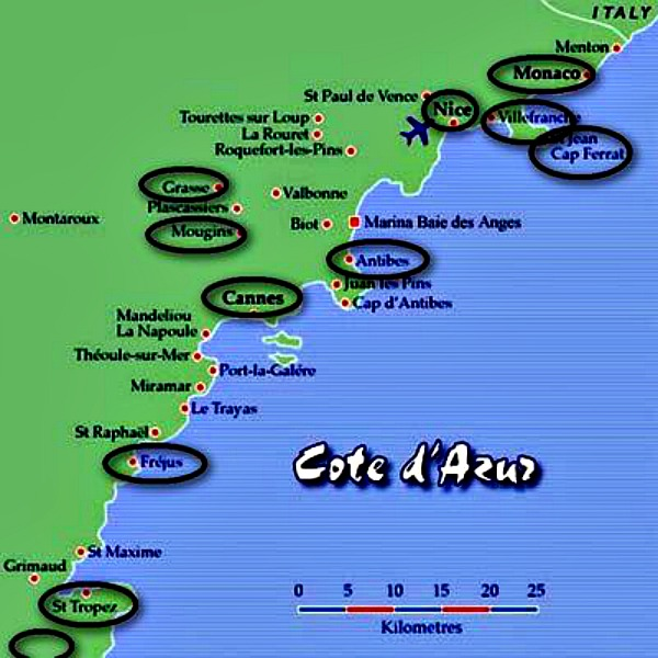 Cote d'Azur map